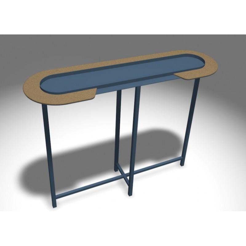console halo acier et li ge mati re grise d coration. Black Bedroom Furniture Sets. Home Design Ideas