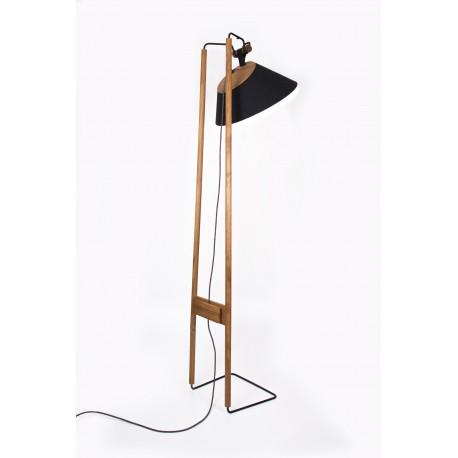 Lampadaire Faro, chêne huilé, flanelle noire, cuir noir, câble anthracite