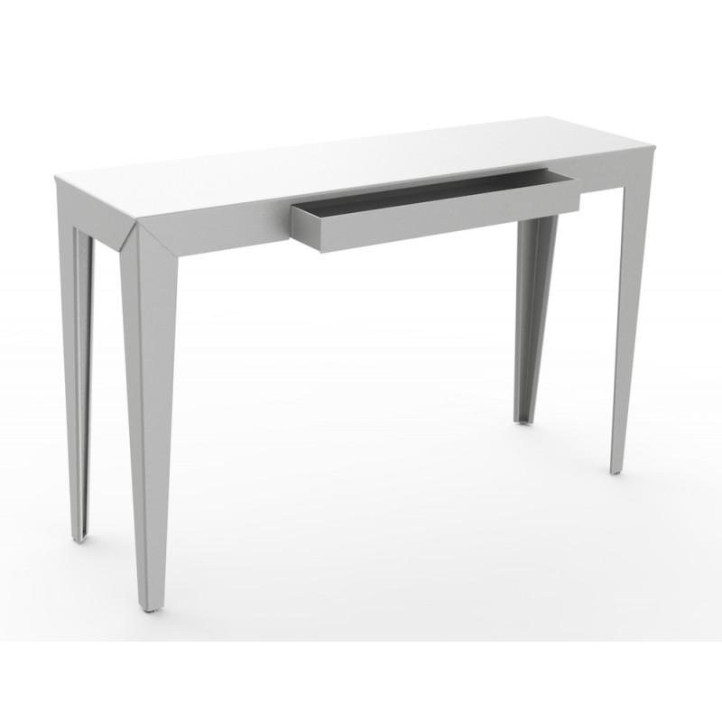 console zef avec tiroir mati re grise. Black Bedroom Furniture Sets. Home Design Ideas