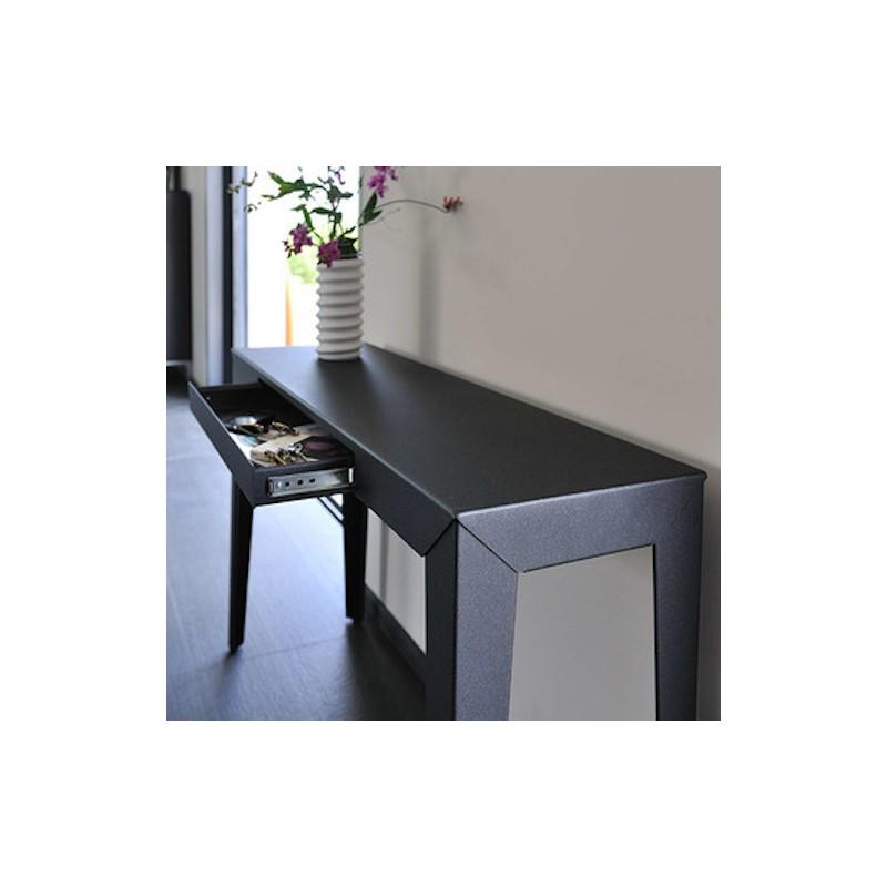 Console zef avec tiroir mati re grise design - Console murale avec tiroir ...