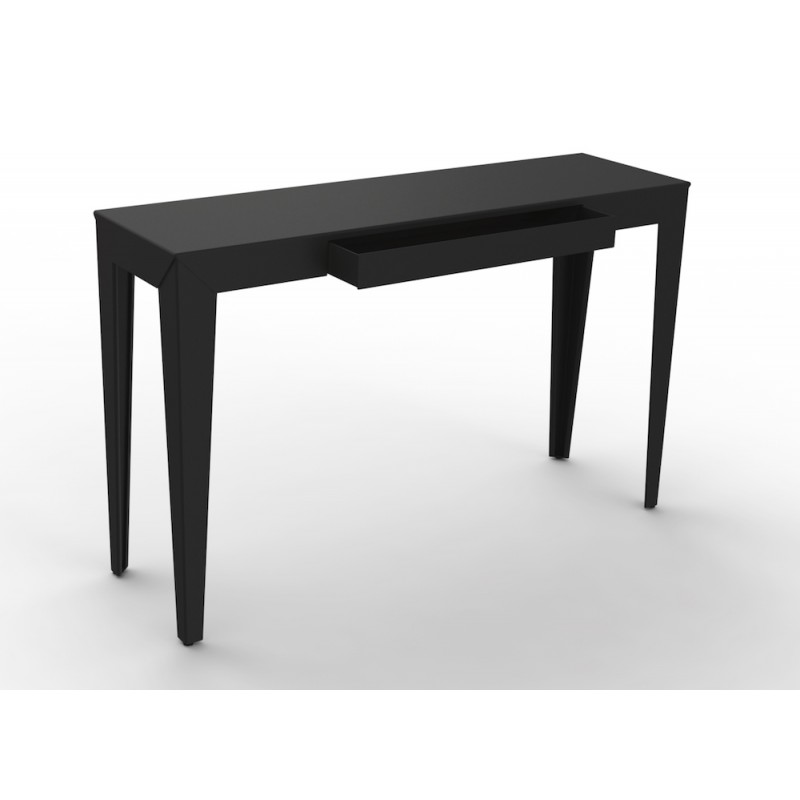 console zef avec tiroir mati re grise. Black Bedroom Furniture Sets. Home Design Ideas