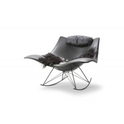 Rocking-chair Stingray, coque gris mat, structure silex