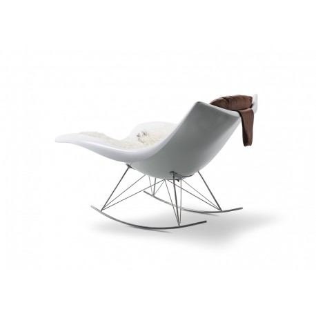 Rocking-chair Stingray, coque blanc brillant, structure chrome