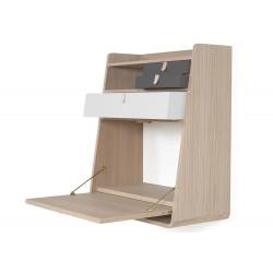 Petit secrétaire Gaston, chêne, grand tiroir gris clair, petits tiroirs gris ardoise