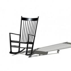Rocking-chair J16 laqué noir raphia noir