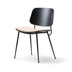 Chaise Soborg, pieds métal, assise tapissée