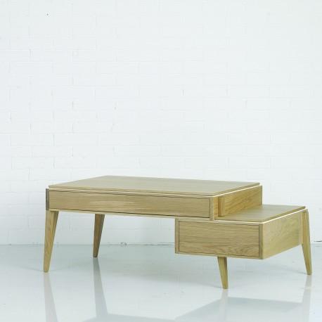 Table basse 110 cm 2 tiroirs Liseré