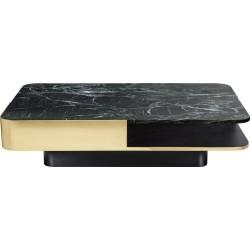 Table basse Lounge laiton, marbre vert