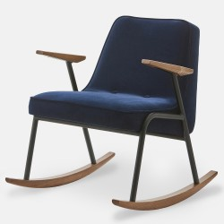 Rocking-chair 366, pieds noir mat, tissu velours indigo