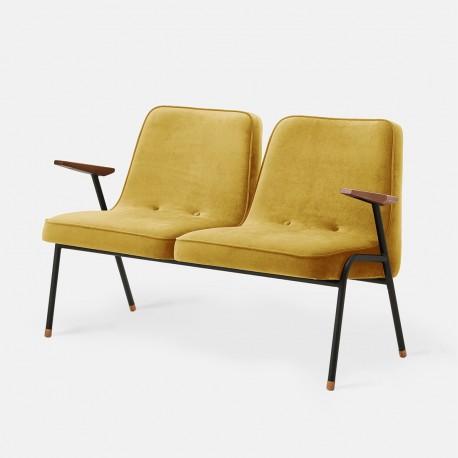 canapé 366 métal, pieds noir mat, tissu velours brillant moutarde