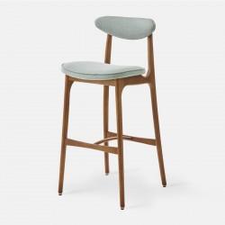 Chaise de bar M, frêne foncé, tissu tweed menthe