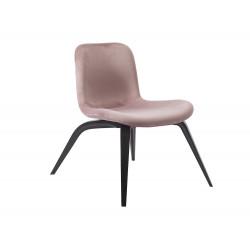 Chaise lounge Goose, chêne teinté noir, velours rose