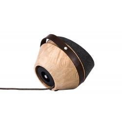 Lampe à poser Kngb, chêne naturel, flanelle anthracite, câble marron, cuir marron