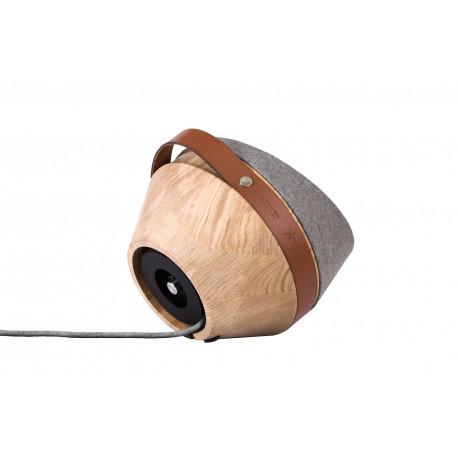 Lampe à poser Kngb, chêne naturel, flanelle gris clair, câble gris clair, cuir cognac