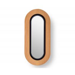 Applique ovale Lens noir mat/cerisier naturel