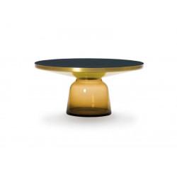 Table basse Bell orange ambré, cadre laiton, plateau verre noir