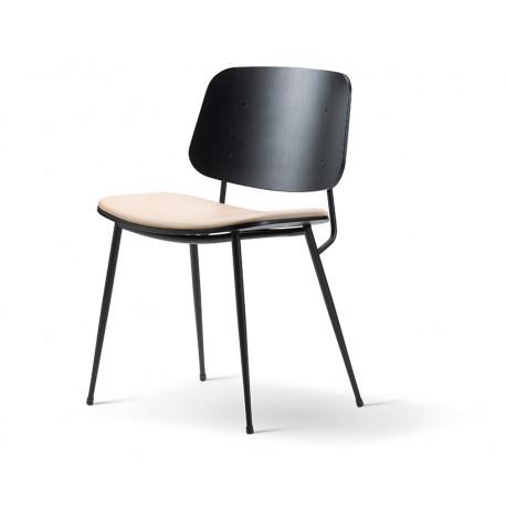 Chaise Soborg, pieds métal, assise tapissée FREDERICIA