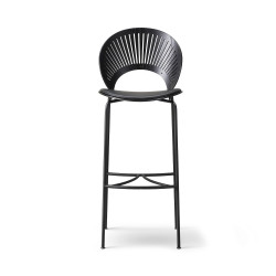 Chaise de bar Trinidad frêne teinté noir, pieds noirs, cuir noir 88