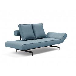 Canapé convertible Ghia pieds métal noir, tissu Mixed dance bleu clair 525