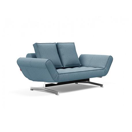 Canapé convertible Ghia pieds chromés, tissu Mixed dance bleu clair 525